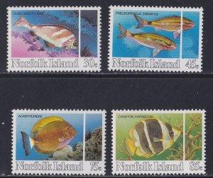 Norfolk Island, # 339-342, Reef Fish, NH, 1/2 Cat.