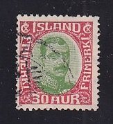 Iceland    #122  used   1920  Christian X   30a  red and green