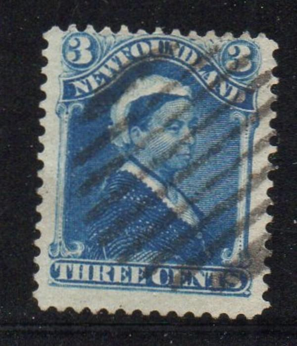 Newfoundland Sc 49 1896 3 c blue Victoria stamp used