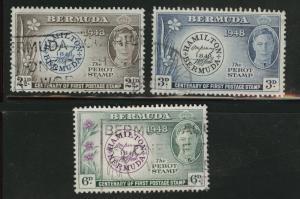 Bermuda Scott 135-137 Used postage stamp centennial set 1949