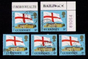 Guernsey Flags,1984 Sc  #279 x 5 Each Used One has P#89064 VF