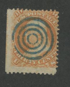 1861 US Stamp #71 30c Used Blue Canceled Average Faults Catalogue Value $200