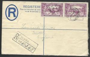 SIERRA LEONE 1946 Uprated 3d Registered envelope used BLAMA to UK..........56420