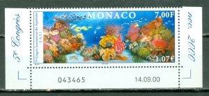 MONACO 2000 AQUARIUM #2182 IMPRINT MARGIN STAMP MNH....$2.50