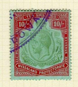 NYASALAND; 1913 early GV issue fine used 10s. value