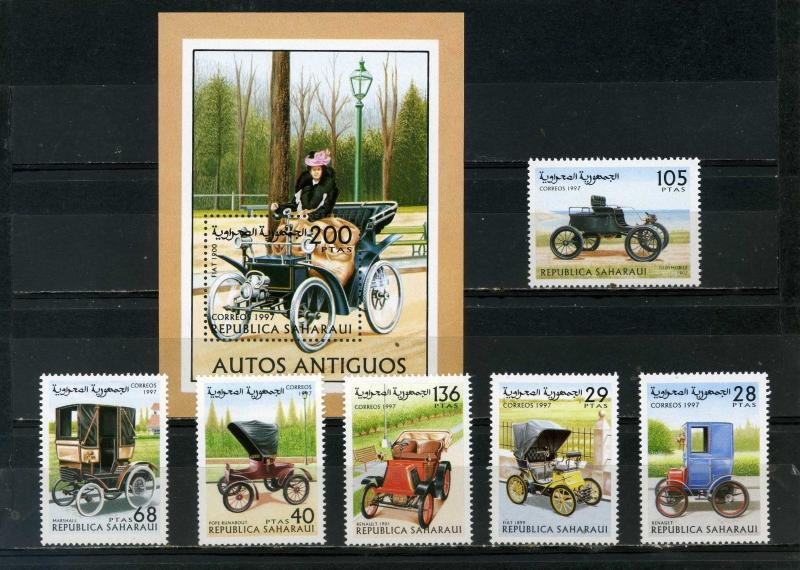 SAHARA OCC 1997 OLD CARS SET OF 6 STAMPS & S/S MNH