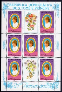St.Thomas & Prince 1982 Sc#656 Princess Diana-Orchids Mini-Sheetlet Perf.MNH