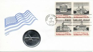 US FDC #1782a Architecture Plate Block, Medallion (8748)
