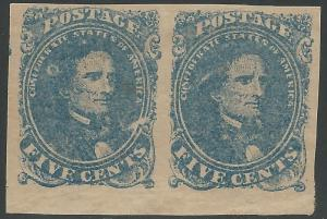 CSA Scott #4 Stone 2 Pos 42-43 Mint OG Pair of Confederate Stamps
