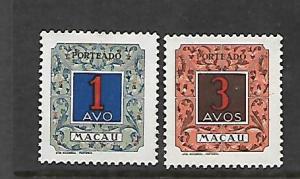 MACAU, J53-J54, MINT HINGED, NUMERAL ISSUE