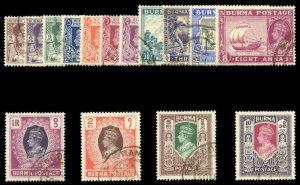 Burma 1946 KGVI British Civil Admin set complete VFU. SG 51-63. Sc 51-65.