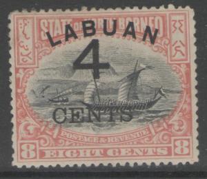 LABUAN SG104a 1899 4c on 8c ROSE-RED p13½-14 HEAVY MTD MINT