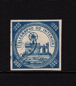 Chorlavi:  Brazil 1869 RHM #T-3 XF Used with backstamp CV $475