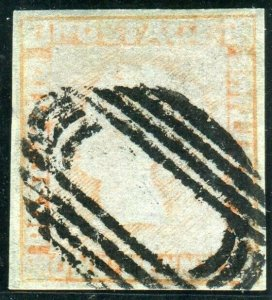 MAURITIUS 1848-59 1d Red/Grey paper (worn impression).  A very fine used  Sg 16