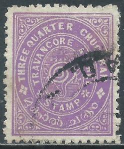 India-Travancore, Sc #9, 3/4ch Used