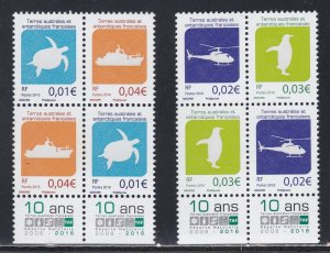 French Southern Antarctic Terr.# 504b-507b, Pairs, Dated 2016, NH