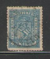 Norway Sc 14 1867 4 sk blue lion stamp used