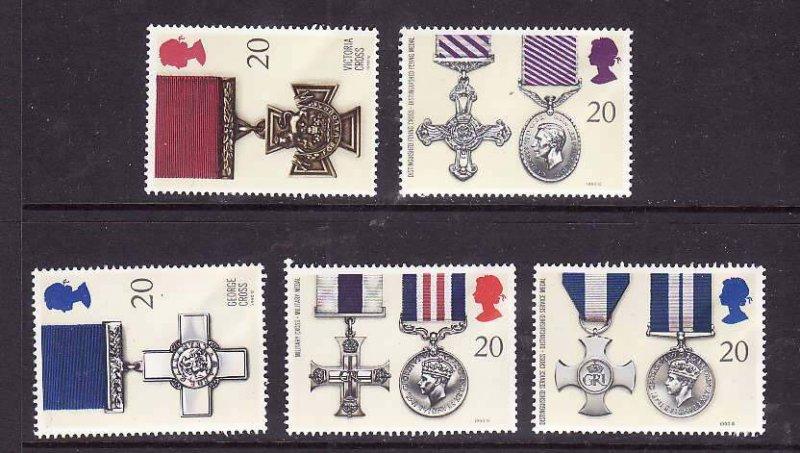 Great Britain-Sc#1331-5- id5-unusedNH set-Military-Medals-1990-