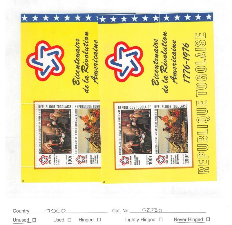 Lot of 11 Togo MNH Mint Stamps Scott # 1005a, C223a, C273a #140312 X