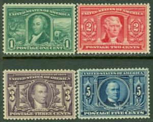 EDW1949SELL : USA 1904 Scott #323-26 Mint Never Hinged. Pretty. Catalog $490.00.