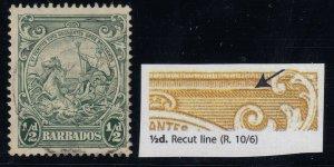 Barbados, SG 248a, used Recut Line variety