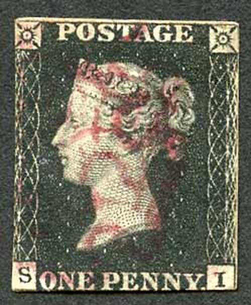 Penny Black (SI) Plate 6 Bright Magenta Maltese Cross Cat 3000 pounds