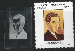 M)1988  MEXICO, PRINTING PLATE,  PICTORIC ART SELF PORTRAIT  OF ANTONIO RUIZ, MN