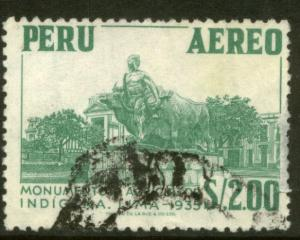 Peru C185, $2S Native farmer monument. Used. (332)