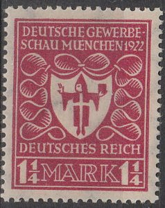 Stamp Germany Reich Mi 199 Sc 212 1922 Coat of Arms Munich Industrial Expo MH