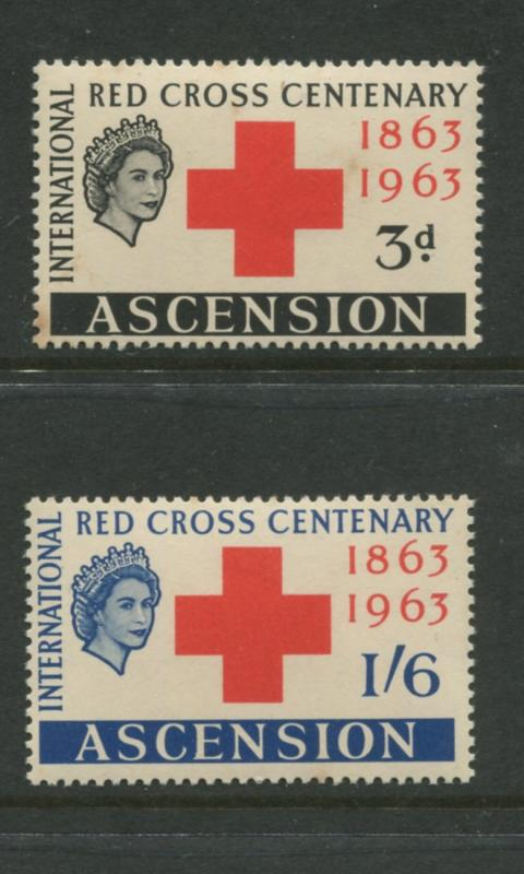 Ascension - Scott 90-91 - Red Cross Issue -1963 - MVLH - Set of 2 Stamps