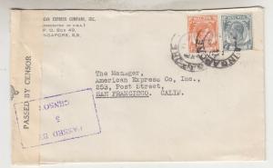 STRAITS SETTLEMENTS, 1939 censored cover to USA, KGV 8c. & KGVI 4c.