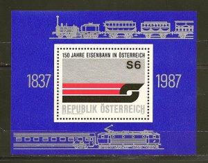 Austria Railroad 150th Anniversary 1987 Souvenir Sheet MNH