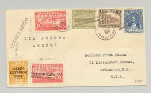 Guatemala 1932 Airmail Cover to Arlington, NJ USA