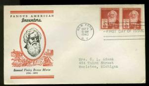U.S. FDC #890 #M7 Linprint Cachet New York, NY Famous American Samuel Morris