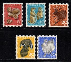 Switzerland Sc B350-54 1965 Pro Juvente stamp set mint NH