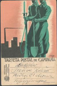 1937 Defense of Madrid Spain Postcard Cover Czechoslovakia Civil War
