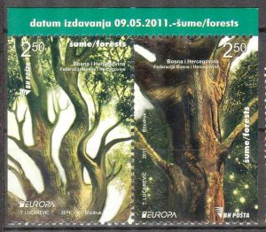 Bosnia 2011 Europa CEPT Forests Pair differ. Perforations MNH
