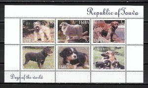 Touva, 1999 Russian Local. Dogs of the World sheet of 6.