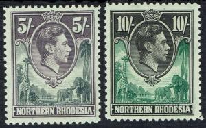NORTHERN RHODESIA 1938 KGVI GIRAFFE AND ELEPHANTS 5/- AND 10/-