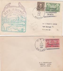 United States Navy Ship Postmarks Samoa 2 Covers 1937 & 1939