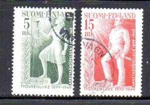 Finland Sc 283-4 1949 Labour Movement Anniversary stamp set used