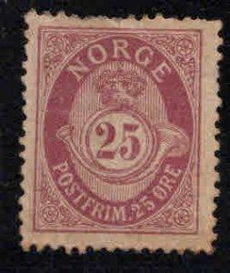 Norway Scott 87 MH* Post Horn stamp toned short perfs at top
