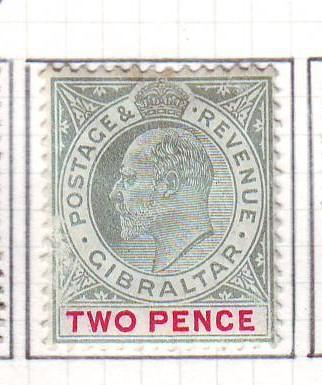Gibraltar Sc 52a 1907 2 d  EVII stamp used