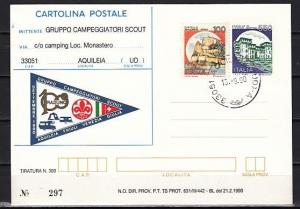 Italy, 15/SEP/90 issue. Gruppo Campeggiatori Cachet on a Postal Card.