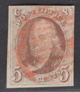 US Stamp #1 5c Red Brown Franklin  USED SCV $350.00