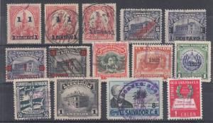 Salvador Sc 312/620 used. 1906-52 issues, 14 better used singles, sound, F-VF