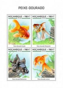 Mozambique - 2018 Goldfish on Stamps - 4 Stamp Sheet - MOZ18528a
