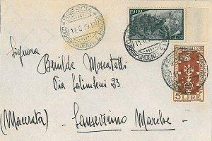 ITALIA REPUBBLICA: RISORGIMENTO 15L + BIENNALE VENEZIA 5L su BUSTA 1949