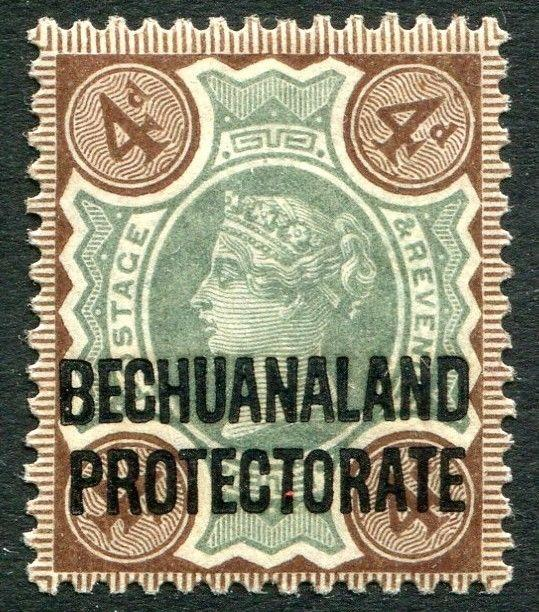 BECHUANALAND-1897-1902 4d Green & Purple-Brown Sg 64 LIGHTLY MOUNTED MINT V20364