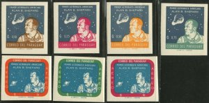 PARAGUAY Sc#610-616 IMPERF 1961 Alan Shepherd 1st US Astronaut Cpl OG Mint LH